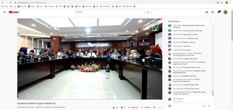 ASN PA Prabumulih Nonton Bareng Live Streaming Diskusi Pengembangan Aplikasi Gugatan Mandiri Kerjasama Badilag dengan AIPJ2
